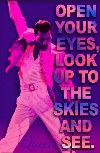 "Queen (Freddie Mercury) ""Look Up To The Skies"" Rock Music Poster - Image Source International"