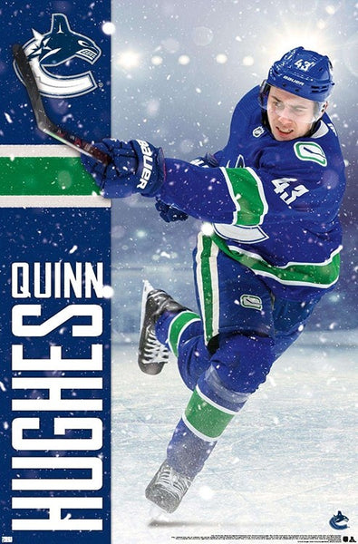 "Quinn Hughes ""Super-D"" Vancouver Canucks NHL Hockey Action Poster - Trends International"