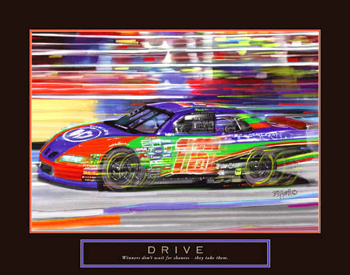 "Stock Car Racing ""Drive"" Motivational Poster - Front Line"