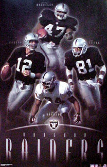 "Oakland Raiders ""Superstars"" 4-Player NFL Football Poster - Starline 2001"