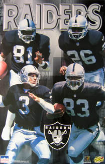 "Oakland Raiders ""Four Stars"" Poster (Tim Brown, George, Kaufman, Dudley) - Starline 1997"
