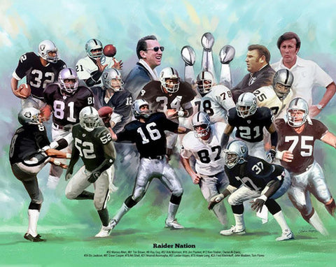 "Oakland Raiders ""Raider Nation"" (17 Legends) Art Print Poster by Wishum Gregory"