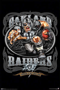 "Oakland Raiders ""Grinding it Out Since 1960"" NFL Theme Art Poster - Costacos 2009"