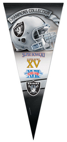 Oakland/L.A. Raiders 3-Time Super Bowl Champions EXTRA-LARGE Premium Pennant