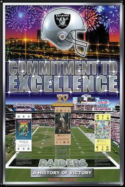 "Oakland/L.A. Raiders ""History of Victory"" Super Bowl Champs Poster - Action Images"