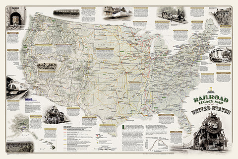 Railroad Legacy of the United States National Geographic 24x36 Wall Map Poster - NG Maps