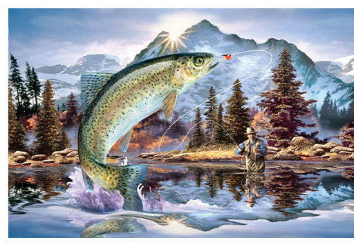 "Fly Fishing ""Rainbow Trout Action"" Premium Art Poster Print - Eurographics Inc."