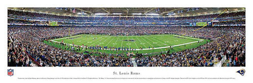 St. Louis Rams Edward Jones Dome Gameday Panoramic Poster Print - Blakeway Worldwide