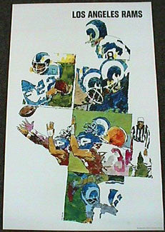 Los Angeles Rams NFL Collectors Series Vintage Original Theme Art Poster (1968)