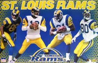"St. Louis Rams ""Quad Action"" Poster (Banks, Bruce, Kennison, Phillips) - Starline 1997"