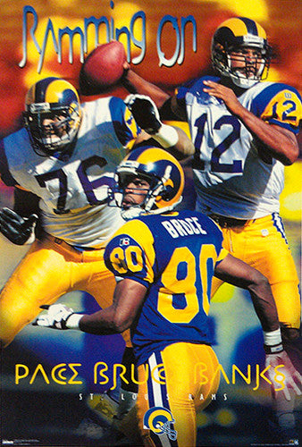 "St. Louis Rams ""Ramming On"" (1998) Pace, Bruce, Banks Poster - Costacos Sports"