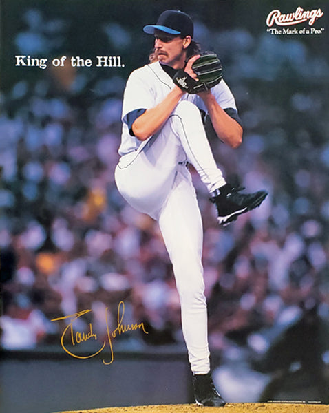 "Randy Johnson ""King of the Hill"" Seattle Mariners MLB Baseball Poster - Rawlings 1998"