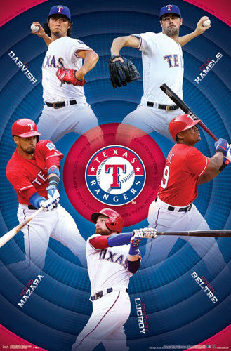 Texas Rangers Superstars 2017 Poster (Darvish, Hamels, Mazara, Lucroy, Beltre) - Trends International