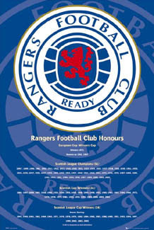 "Glasgow Rangers FC ""Honours"" Championship History Team Crest Poster - GB 2007"