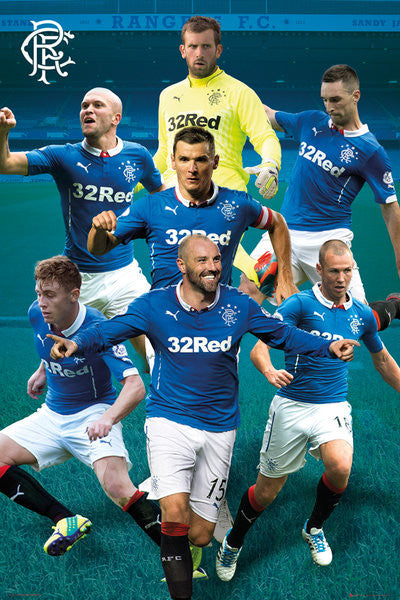 "Glasgow Rangers FC ""Super Seven"" (2014/15) Official EPL Action Poster - GB Eye (UK)"