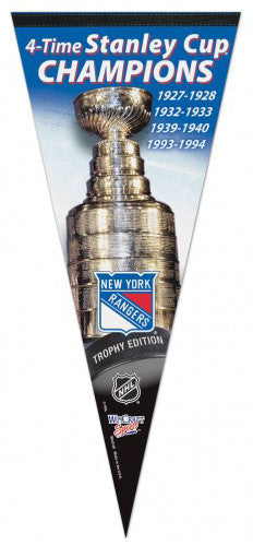 NY Rangers 4-Time Stanley Cup Champions EXTRA-LARGE Premium Pennant