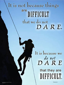 "Rapelling Rock Climbing ""Dare"" Motivational Inspirational Poster - Jaguar Inc."