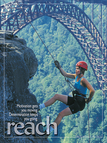 "Rapelling Rock Climbing ""Reach"" Motivational Poster - Jaguar Inc."