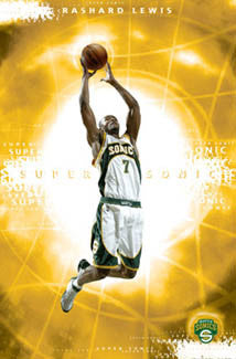 "Rashard Lewis ""Superstar"" Seattle Supersonics NBA Action Poster - Costacos 2005"