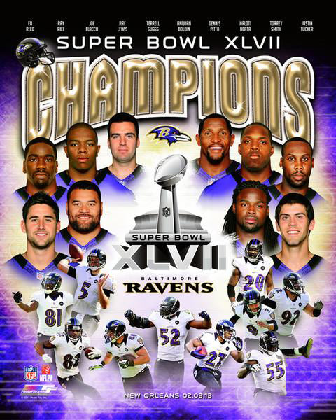 Baltimore Ravens Super Bowl XLVII Champions 10-Player Commemorative Premium Poster Print - Photofile Inc.