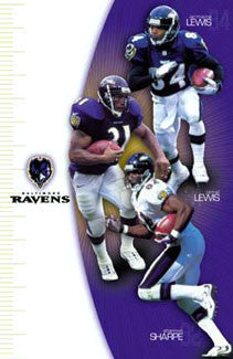 "Baltimore Ravens ""Three Birds"" (Lewis, Lewis, Sharpe) Poster - Costacos 2000"