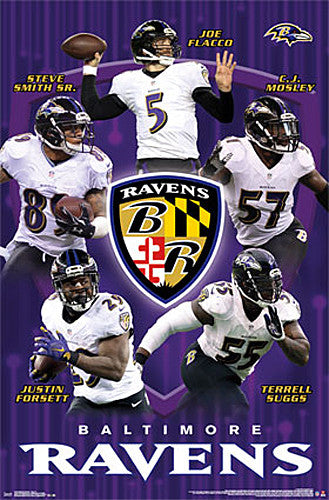 Baltimore Ravens Superstars 2015 Poster (Flacco, Smith, Suggs, Mosley, Forsett) - Trends Int'l.