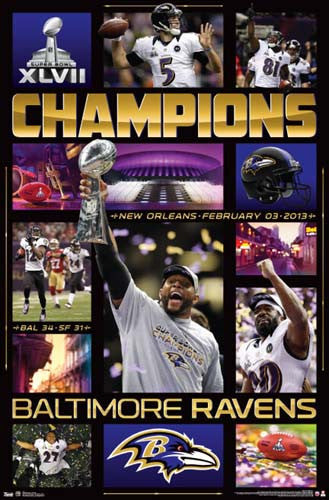 "Baltimore Ravens Super Bowl XLVII ""CELEBRATION"" (2013) Poster - Costacos"