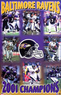 Baltimore Ravens Super Bowl XXXV Champions Commemorative Poster - Starline 2001