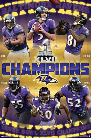 Baltimore Ravens Super Bowl XLVII (2013) Champions Poster - Costacos Sports