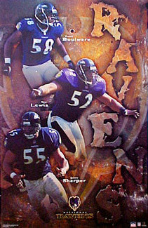 "Baltimore Ravens ""Super-D Trio"" Poster (Ray Lewis, Boulware, Sharper) - Starline 2001"