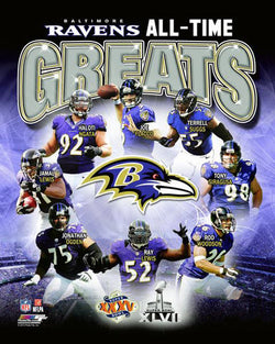 Baltimore Ravens Football All-Time Greats (8 Legends) Premium Poster Print - Photofile Inc.