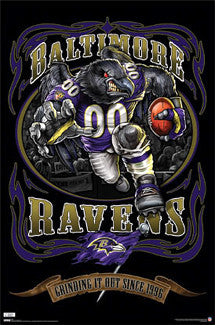 "Baltimore Ravens ""Grinding it Out"" Theme Art Poster - Costacos/Liquid Blue"