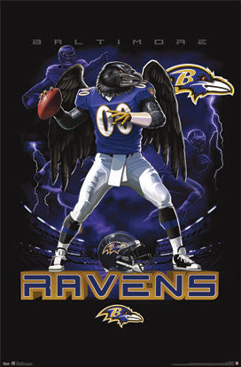 "Baltimore Ravens ""On Fire"" NFL Theme Art Poster - Costacos Sports"