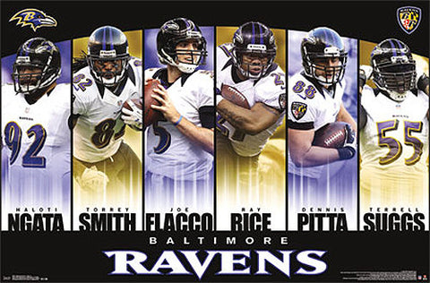"Baltimore Ravens ""Super Six"" (2013) Six-Player Action Poster - Costacos 2013"