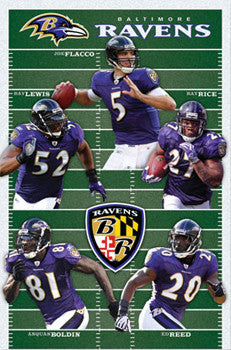 "Baltimore Ravens ""Gridiron Five"" NFL Action Poster - Costacos Sports"