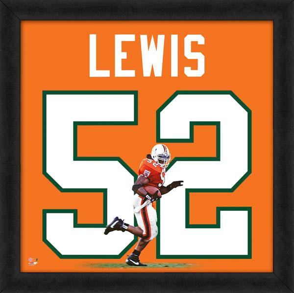 "Ray Lewis ""Number 52"" Miami Hurricanes Classic NCAA FRAMED 20x20 UNIFRAME PRINT - Photofile"