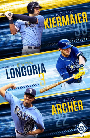 "Tampa Bay Rays ""Super Trio"" Poster (Kiermaier, Longoria, Archer) - Trends International"