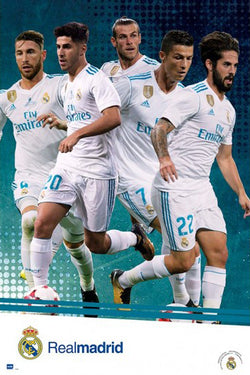 "Real Madrid CF ""Game Night Superstars"" (2018) Official La Liga Soccer 5-Player Poster - Grupo Erik"