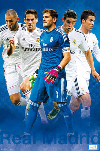 "Real Madrid CF ""Super Five"" Official La Liga Soccer Poster (Casillas, Ronaldo, Bale, +)"