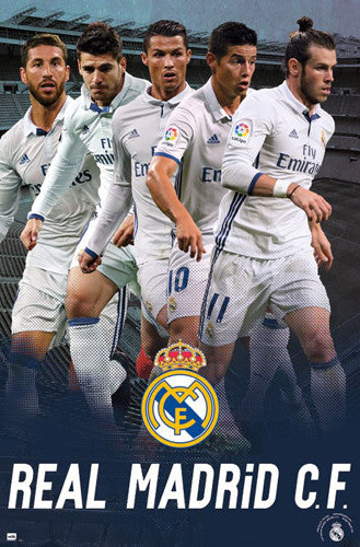"Real Madrid CF ""Super Five"" Official Poster (Bale, Ronaldo, James, Ramos, Isco) - Trends 2017"