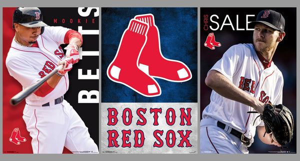 COMBO: Boston Red Sox MLB Baseball 3-Poster Combo Set (Mookie Betts, Chris Sale, Team Logo Poster)