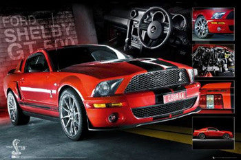 Red Ford Shelby Mustang GT 500 Cobra Poster - GB Eye