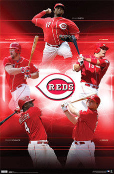 "Cincinnati Reds ""On Fire"" (2010) 5-Player Baseball Action Poster - Costacos Sports"