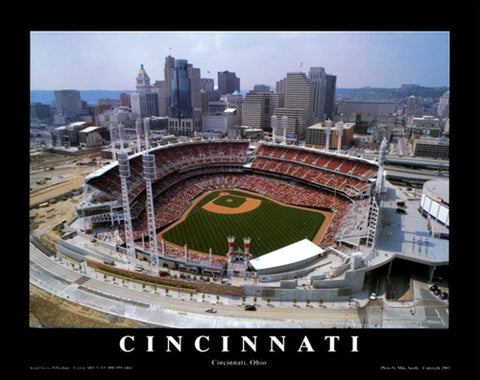 "Cincinnati Reds Great American Ballpark ""From Above"" Premium Poster Print - Aerial Views"