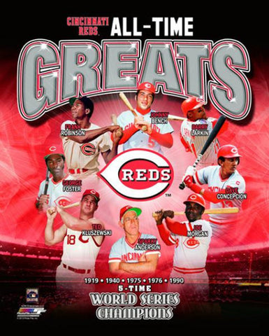Cincinnati Reds Baseball All-Time Greats (8 Legends, 5 Championships) Premium Poster Print