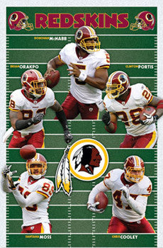 "Washington Redskins ""Gridiron Five"" Poster (McNabb, Portis, Moss, Cooley, Orakpo) - Costacos 2010"