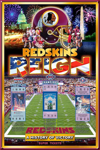 "Washington Redskins ""History of Victory"" Three-Time Super Bowl Champions Poster - Action Images"