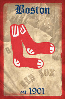 "Boston Red Sox ""est. 1901"" Retro Logo Poster - Costacos Sports"