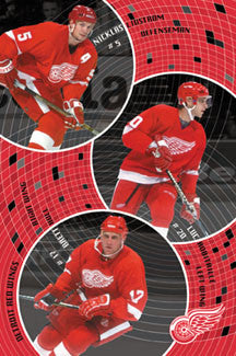 "Detroit Red Wings ""Hall Trio"" (Lidstrom, Robitaille, Hull) Poster - Costacos 2001"