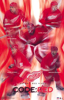 "Detroit Red Wings ""Code Red"" Superstar Collage Poster - Starline 2002"